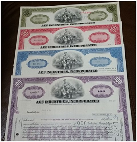 (1970 COMPLETE SET OF 4 DIFFERENT ACF (AMERICAN CAR & FOUNDRY) STOCK CERTIFICATES! MAKES BUSSES and RAIL CARS Crisp About Uncirculated )