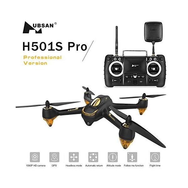 Hubsan H501S X4 PRO Brushless FPV Droni Quadricotteri GPS Fotocamera 1080P HD 5.8Ghz con Telecomando High Edition (H501S Nero) 2 spesavip