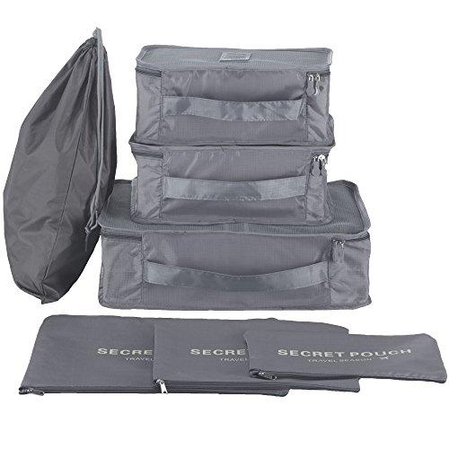 7 Pcs Kleidertaschen Kofferorganizer Gepäck Veranstalter Beutel Packtaschen Schuhtaschen- 7-Teiliges Set
