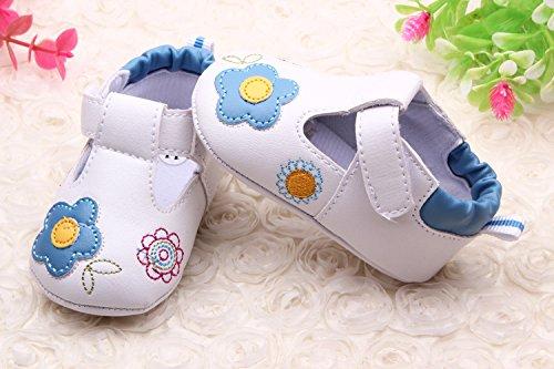 YICHUN Prewalker zapatos de bebé niñas flores cuna zapatos de bebé suave zapatos de ocio zapatos rosa rosa Talla:Sole Length:11cm/4.3 inches azul