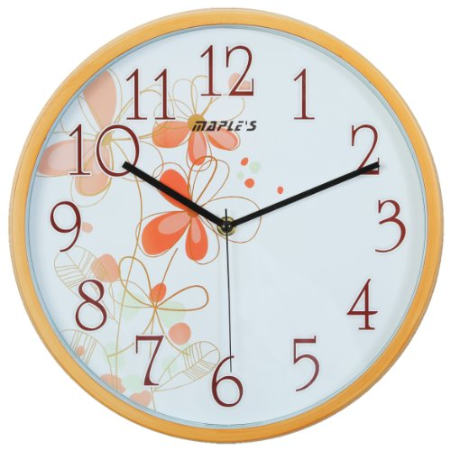 - Maple's 12-Inch Wall Clock, White Face with Flowers