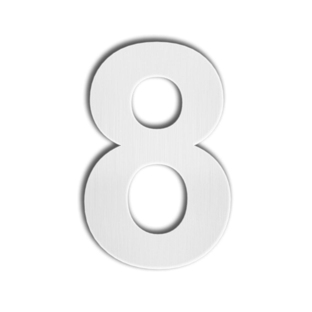Qt modern house number super large 12 inch brushed stainless steel number 8 eight floating appearance easy to install and made of solid 304