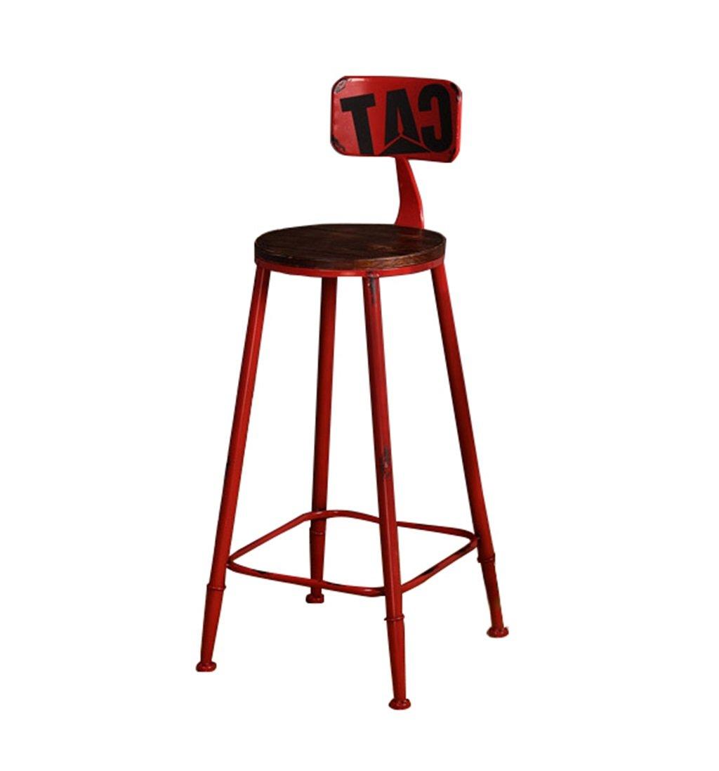 高いスツールバーキッチンダイニングチェア朝食用スツール| Barstool Leisure Seat Vintage Barスツールレトロインダストリアルデザイン(マルチカラー) (色 : Red, サイズ さいず : 75cm) B07F9KMWZF 75cm|Red Red 75cm