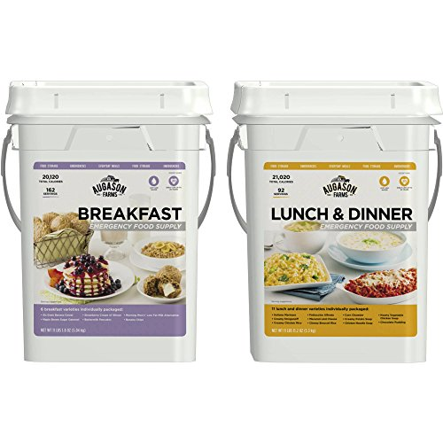 Augason Farms Breakfast/Lunch & Dinner Variety Pack High Quality 254 Servings Emergency Food Supply Storage Pails, 2 count