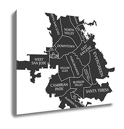 Amazon.com: Ashley Canvas San Jose California City Map USA Labelled ...