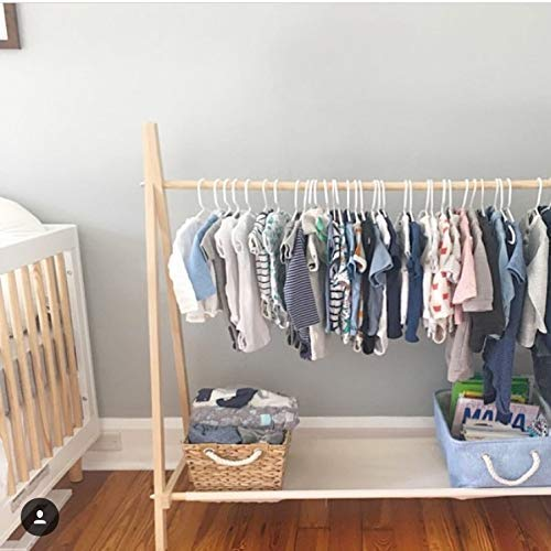 Clothing Rack, Dress Up Storage, Childrens Decor, Kids Clothing, Garment Rack, FOLDS UP, 48x38 inch Tall Wooden Rack With Storage Shelf