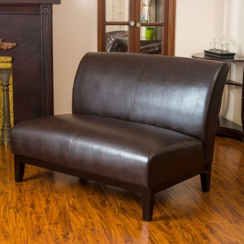Christopher Knight Home 214586 Darcy Brown Leather Loveseat, (And Chair Leather Sofa Brown)