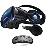 VR Headset with Remote Controller Stereo Headphones for iPhone and Android Virtual Reality Glasses Goggles Provide 360 Panorama for VR Games 3D HD Movies iPhone X 7 6 plus 6s