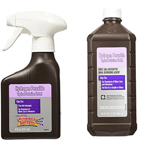 Hydrogen Peroxide First Aid Antiseptic Topical Solution Spray Bottle Trigger Spayer 8 Oz Plus 32 Oz Hydrogen Peroxide Refill Bottle (Bonus Please Wash Your Hands) Magnet (Hydrogen Peroxide First Aid compare prices)