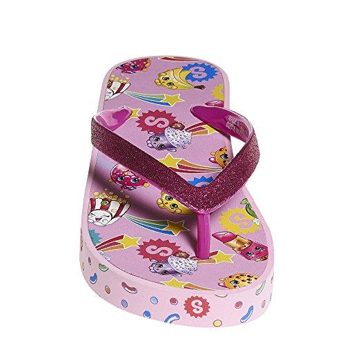 Shopkins Girls Wedge Sandals with Sidewall Print, Fuschia, 13-1 US Little ()