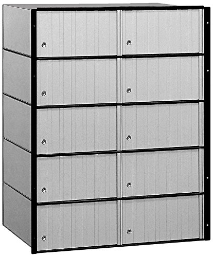 Salsbury Industries 2210 Aluminum Mailbox, 10 Doors, Standard System, Aluminum with Black Trim by Salsbury Industries