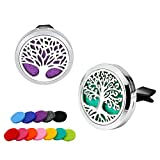 Automotive : RoyAroma 2PCS Tree of Life Aromatherapy Car Essential Oil Diffuser Stainless Steel Locket with 12 Felt Pads