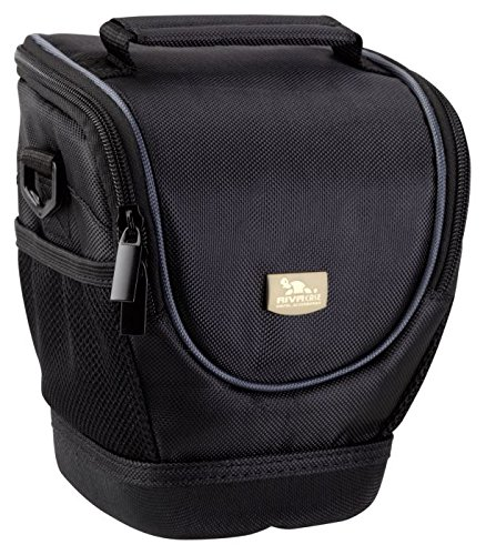 Rivacase Medium DSLR Holster Camera Bag, Classic, Padded, Water Resistant, Black (Mono Sling Flap)