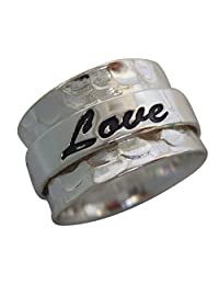 Energy Stone Hope Love Faith Sterling Silver Spinning Ring (Style SR20)