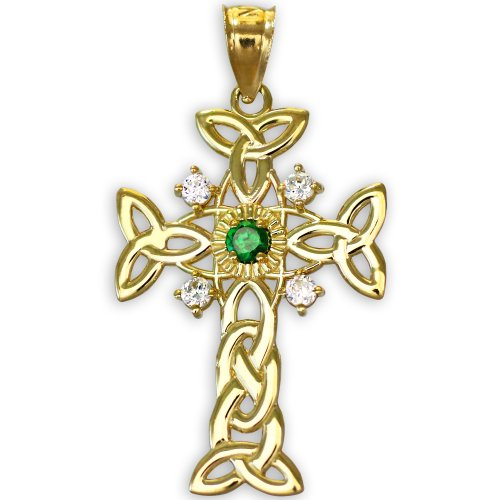 10k Gold Trinity Knot Diamond Celtic Cross Pendant with Genuine Emerald