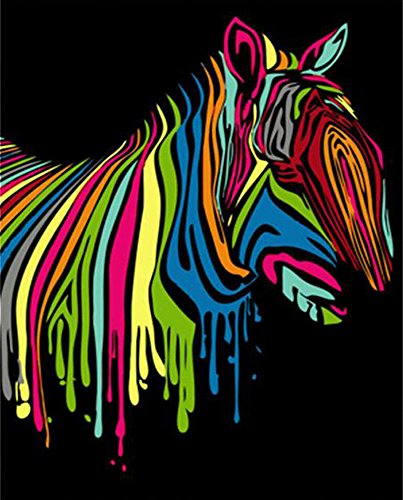 Abstract Cartoon Animals DIY Digital Oil Painting by Number Kits with Acrylic Paints Paint on Canvas for Adults and Kids (Unframed, Colorful Horse)