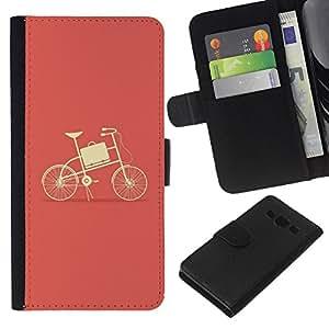 Planetar® Modelo colorido cuero carpeta tirón caso cubierta piel Holster Funda protección Para Samsung Galaxy A3 / SM-A300 ( Peach Bicycle Minimalist Yellow )