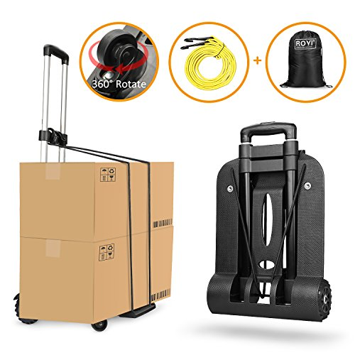Folding Hand Truck 4 Wheel-roate 75 Kg/165 lbs Heavy Duty Solid Construction Utility Cart Compact and Lightweight for Luggage/Personal/Travel/Auto/Moving and Office ()