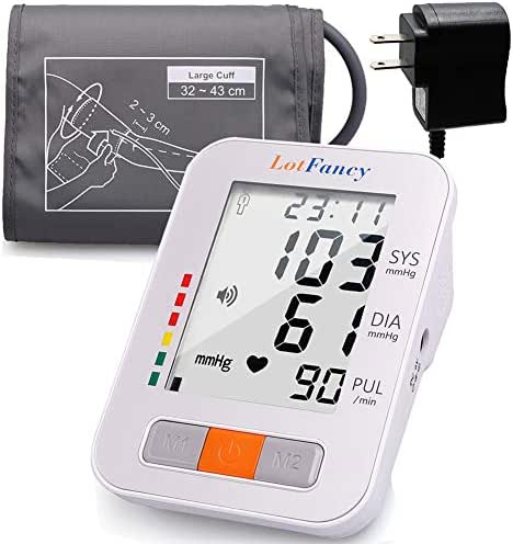 """Lotfancy Upper Arm Blood Pressure Monitor, 180 Readings, 2 Users, Upper Arm BP Machine & Pulse Rate Monitoring Meter with Cuff 13""""-17"""", Digital BP Monitor with Talking Function & Large LCD Display"""