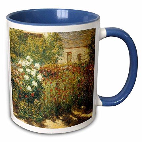 3dRose BLN Impressionist Fine Art Collection - Garden at Giverny by John Leslie Breck - 15oz Two-Tone Blue Mug (mug_127308_11)