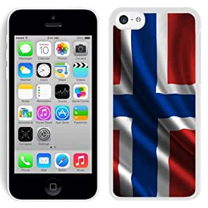 Personalized Phone Cover Norway Norsk Flag 3D Render iPhone 5C Wallpaper in White