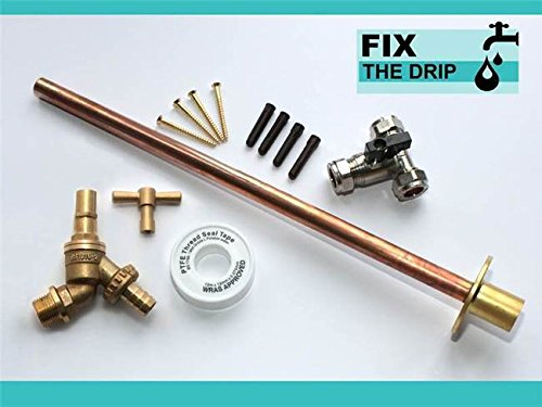 Outside Tap Kit Vandle Proof DIY Professional finish 355 mm through the wall Flange [GT7b]