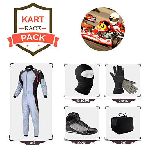 Sports Blue Go Kart Racing Suit Suit,Gloves,Balaclava and Shoes Free Bag - White with Black Side Style ()