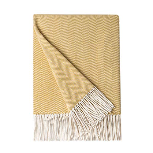 Bourina Decorative Herringbone Faux Cashmere Fringe Throw Blanket Lightweight Soft Cozy for Bed or Sofa Farmhouse Outdoor Thr