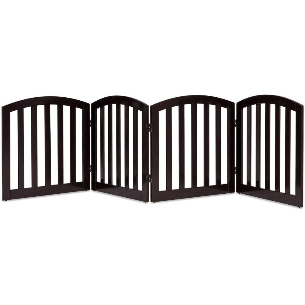 """24"""" Configurable Folding Free Standing 4 Panel Wood Pet Fence- Brown"""