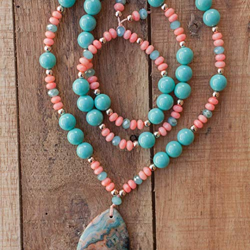 30 Inch Long Agate Beaded Pendant Necklace with Turquoise Faux Pearls and Pink Coral Beads