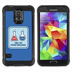 A-type Arte & diseño Anti-Slip Shockproof TPU Fundas Cover Cubre Case para Samsung Galaxy S5 V / SM-G900 ( Funny Health & Mana Potions )
