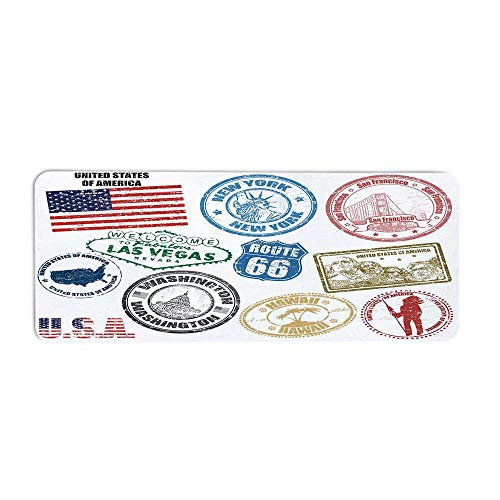 TecBillion United States Fashionable Long Door Mat,Grunge Stamps of America Las Vegas New York San Francisco Hawaii Illustration for Home Office,23.6