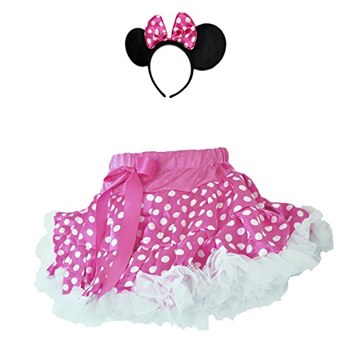 [Pink/White Polka Dots Minni 2 Layers Skirt White Ruffle Trim w/HeadBand Set(Medium)] (Minni Mouse Costumes)