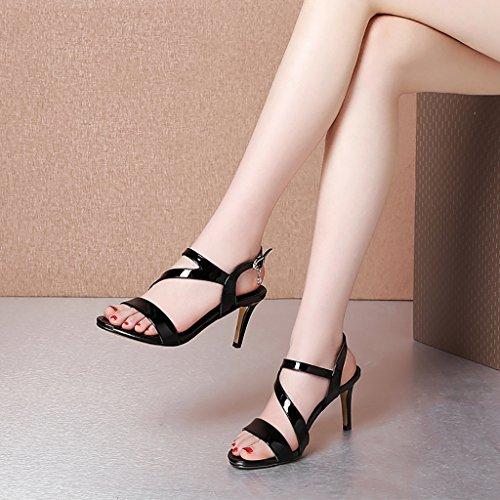 Summer Non sandals Black and 225mm EU35 Female shopping slip sandals UK3 heel Black High L black blue Beige PENGFEI Color 5 Size Fqdfq