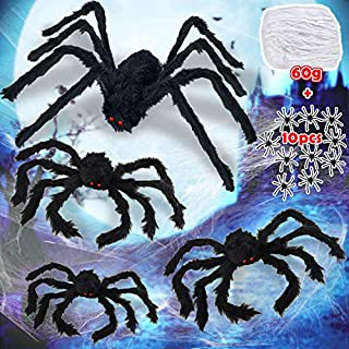 4 Large Halloween Decorations Spiders Set Outdoor Indoor Decor Scary Fake Spiders [30inch,2x 20inch, 12inch] and Super Stretch Spider Cobweb 60g Spooky Haunted House Party Favor