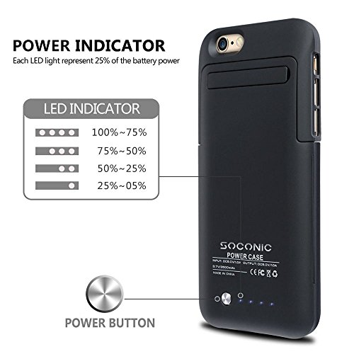 check out 38de0 63219 Soconic 3500mAh Battery Case For iPhone 6 / 6s Rechargeable Extended  Battery Charging Case Portable Charger Case Backup External Battery Pack  Power ...
