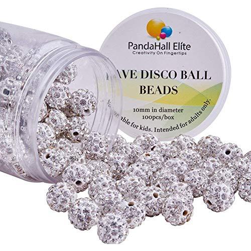 PandaHall Elite 100pcs 10mm Disco Ball Clay Beads Crystal White Pave Rhinestones Spacer Round Beads fit Shamballa Bracelet