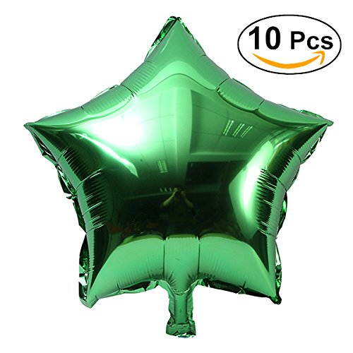 NUOLUX 10pcs 18 inch Foil Balloon Party Five-Point Star Mylar Balloons for Valentins Day Wedding Birthday Party Decoration (Green)