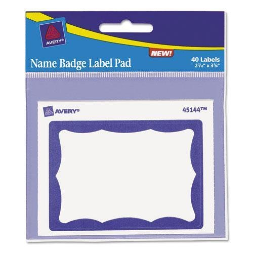 Avery 45144 Name Badge Label Pad, 3 x 4 Pad, 2-7/16 x 3-3/8 Labels, Blue/White, 40 Labels/Pk