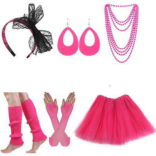Women's 80s Costume Set Adult Tutu Skirt Fishnet Gloves Neon Leg Warmer Earrings (Set L)