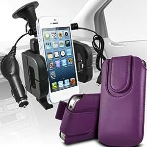 Nokia Lumia 925 premium protección PU botón magnético ficha de extracción Slip espinal en bolsa de la cubierta de piel de bolsillo rápido con 12v USB Micro Cargador para el coche y soporte universal de la succión del parabrisas del coche Vent Cuna Dark Purple por Spyrox