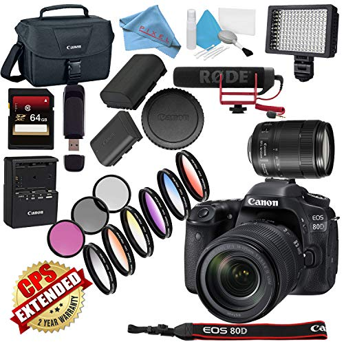 (Canon EOS 80D DSLR Camera with 18-135mm Lens USA Model with Warranty Video Bundle)