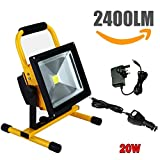 QITAO 2400LM 20W LED Work Light (150W Equivalent), Waterproof LED Flood Lights, 16ft/5M Cord with Plug, Stand Industrial Working Light for Workshop, Construction Site, 6000K Daylight White