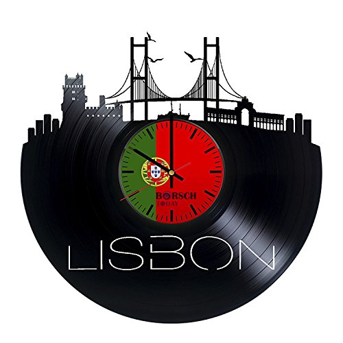 Lisbon Portugal HANDMADE Vinyl Record Wall Clock – Perfect gifts for birthday wedding anniversary valentine's mother's father's day - Gift ideas for men and women him and - Tracking Number Portugal