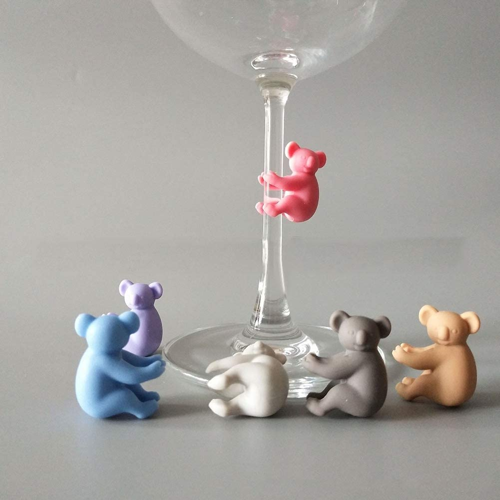 Ruipunuosi 6Pcs Cute Koala Wine Glass Decoration Charms Silicone Drinking Buddies Drink Markers Home Bar Party Wine Glass Decoration