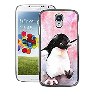 A-type Arte & diseño plástico duro Fundas Cover Cubre Hard Case Cover para Samsung Galaxy S4 (Cute Penguin Watercolor Baby Pink)