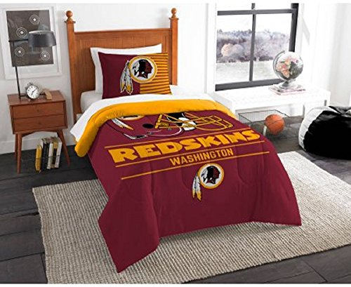 2 Piece NFL Washington Redskins Comforter Twin Set, Sports Patterned Bedding, Featuring Team Logo, Fan Merchandise, Team Spirit, Football Themed, National Football League, Red, Yellow, (Washington Redskins Bed Set)