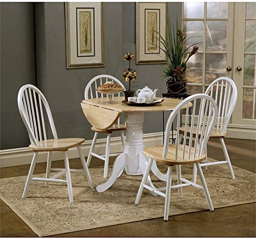 BOWERY HILL Round Drop Leaf Dining Table in Natural Brown and White