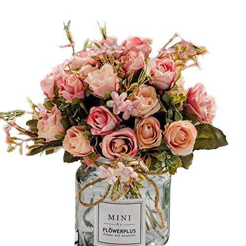 BuleXP 3 Pieza 10 Cabezas Flores Artificiales Rosas Decoracion Plasticas Bouquet de Seda Simulacion Flores Falsas para El Hogar de Mesa Weeding Party Decoracion DIY o Ramo de Novia Pink