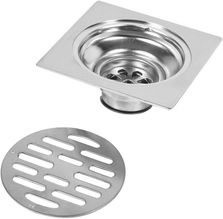 #2 Drenaje de piso de acero inoxidable tapa de desag/üe de piso tapa de desag/üe cuadrada para ba/ño antiolor Escurridor de ducha con compuerta de desechos